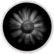 Backyard Flowers In Black And White 31 Round Beach Towel