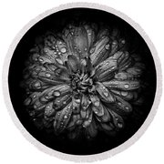 Backyard Flowers In Black And White 44 Round Beach Towel
