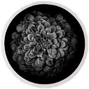Backyard Flowers In Black And White 54 Round Beach Towel