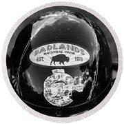 Badlands Motorcycle Trip Round Beach Towel