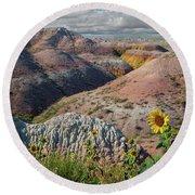 Badlands Sunflower - Vertical Round Beach Towel