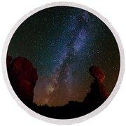 Balanced Rock Below The Milky Way Round Beach Towel