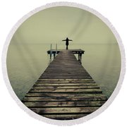 Ballerina Pose At Idyllic Lake At Winter Round Beach Towel