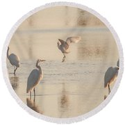 Ballet Of The Egrets Round Beach Towel