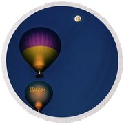 Balloons And The Moon Round Beach Towel