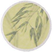 Bamboo Leaves 0580b Round Beach Towel