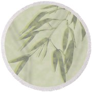 Bamboo Leaves 0580c Round Beach Towel