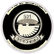 Band Of Brothers 501 Geronimo 50 First Infantry Regiment Science Round Beach Towel