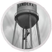 Bandera Water Tower In Texas Round Beach Towel