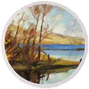 Round Beach Towel featuring the painting Banking On The Columbia by Steve Henderson
