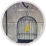 Banksy Bird Cage Detroit Round Beach Towel
