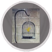 Banksy Bird Cage Detroit Round Beach Towel
