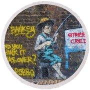 Banksy Boy Fishing Street Cred Round Beach Towel