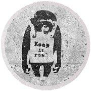 Banksy Chimp Keep It Real Round Beach Towel