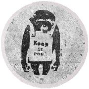 Banksy Chimp Keep It Real Round Beach Towel
