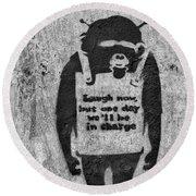 Banksy Chimp Laugh Now Graffiti Round Beach Towel
