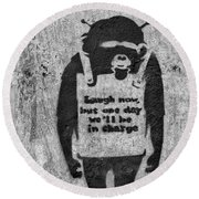 Banksy Chimp Laugh Now Graffiti Round Beach Towel