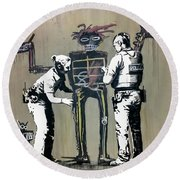 Banksy Coppers Pat Down Round Beach Towel