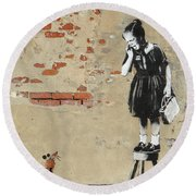 Banksy New Orleans Girl And Mouse Round Beach Towel
