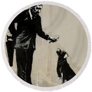 Banksy Paris Man With Bone And Dog Round Beach Towel