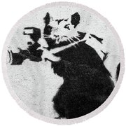 Banksy Rat With Camera Round Beach Towel
