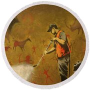 Banksy's Cave Painting Cleaner Round Beach Towel