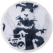 Banksy's Gansta Rat Round Beach Towel