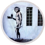 Bansky Fast Food Caveman Los Angeles Round Beach Towel