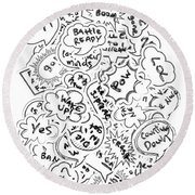 Banter Bubbles From A Comic Creation Round Beach Towel