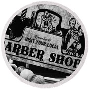 Barber-shave And A Haircut With Vintage Sign Black And White Round Beach Towel
