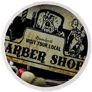Barber-shave And A Haircut With Vintage Sign Round Beach Towel