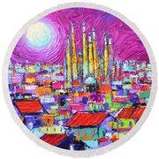 Barcelona Mystic Full Moon Over Sagrada Familia Abstract Cityscape Knife Painting Ana Maria Edulescu Round Beach Towel