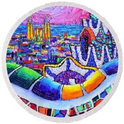 Barcelona Park Guell Colorful Night Textural Impasto Knife Oil Painting Abstract Ana Maria Edulescu Round Beach Towel