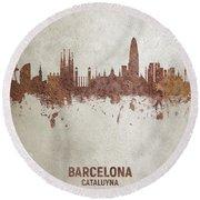 Barcelona Spain Rust Skyline Round Beach Towel