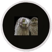 Barking Owls 2 Round Beach Towel