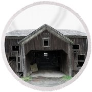 Barn 1886, Old Barn In Walton, Ny Round Beach Towel