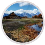 Round Beach Towel featuring the photograph Barn On Mormon Row by Scott Read
