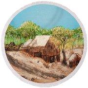 Barn On The Hill Round Beach Towel