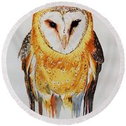 Barn Owl Drip Round Beach Towel