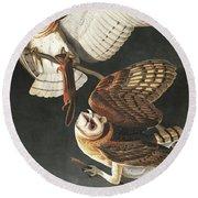 Barn Owl, Tyto Alba By Audubon Round Beach Towel