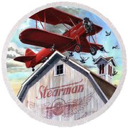 Round Beach Towel featuring the painting Barn Stormer - Customizeable by Clint Hansen