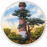 Barnegat Light - With Text Round Beach Towel