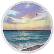 Basking In The Sunset Round Beach Towel