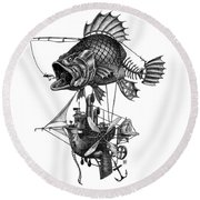 Round Beach Towel featuring the drawing Bass Airship by Clint Hansen