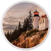 Round Beach Towel featuring the photograph Bass Harbor Lighthouse by Dan Sproul