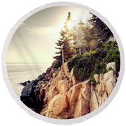 Bass Harbor Round Beach Towel