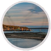 Bass Harbor Sunset Round Beach Towel
