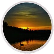 Bass Lake Sunrise Duck Round Beach Towel