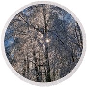 Bass Lake Trees Frozen Round Beach Towel