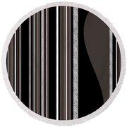 Bass Note - Random Stripes - Black And White Round Beach Towel